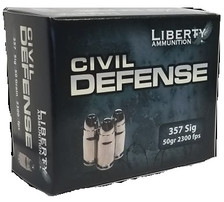 Liberty 357 Sig Ammunition 357SIG053 Civil Defense 50 Grain Fragmenting Lead Free Hollow Point 20 Rounds