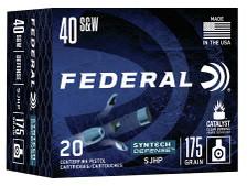 Federal 40 S&W Ammunition S40SJT1 175 Grain Syntech Hollow Point 20 Rounds