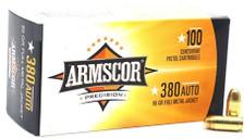 Armscor 380 Auto Ammunition 95 Grain Full Metal Jacket Value Pack 100 Rounds