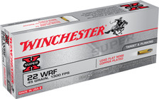 Winchester 22 WRF Ammunition Super-X 22WRF 45 Grain Copper Plated Lead Flat Nose 50 Rounds