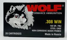 Wolf 308 Win Polyformance Ammunition 150 Grain Full Metal Jacket Case 500 Rounds
