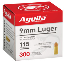 Aguila 9mm Ammunition 1E097700 115 Grain Full Metal Jacket Bulk Pack 300 Rounds