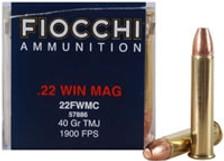 Fiocchi 22 WMR Ammunition 22FWMC 40 Grain Total Metal Jacket CASE 2000 Rounds