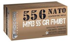 Fiocchi 5.56 NATO Ammunition Shooting Dynamics 556M193L 55 Grain Full Metal Jacket CASE 1000 Rounds