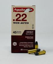 Aguila 22 Winchester Auto Ammunition 1B222504 45 Grain Lead Soft Point 50 Rounds