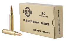Prvi Partizan 5.56x45mm M193 Ammunition PPN5561 55 Grain Full Metal Jacket Boat Tail 20 Rounds