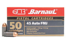 Barnaul 45 Auto Ammunition BARN45FMJ230 230 Grain Full Metal Jacket Steel Casing 50 Rounds