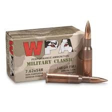 Wolf Military Classic 7.62x54R Ammunition 148 Grain Full Metal Jacket CASE 500 Rounds
