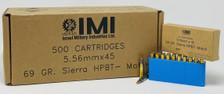 Israel Military 5.56x45mm Ammunition 69 Grain Sierra Hollow Point CASE 500 Rounds