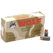 Wolf Military Classic 45 Auto Ammunition 230 Grain Full Metal Jacket CASE 500 Rounds