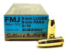 Sellier & Bellot 9mm Ammunition SB9SUBB 150 Grain Full Metal Jacket Subsonic 50 Rounds