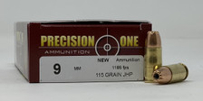 Precision One 9mm Luger Ammunition PONE14 115 Grain Jacketed Hollow Point 50 Rounds