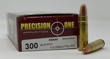Precision One 300 AAC Blackout Ammunition 110 Grain Full Metal Jacket Round Nose 20 Rounds