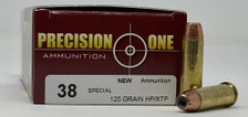 Precision One 38 Special Ammunition PONE53 125 Grain XTP Hollow Point 50 Rounds