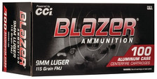 CCI 9mm Ammunition Blazer 3509A100 115 Grain Full Metal Jacket Aluminum Cased 100 Rounds