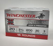 "Winchester 20 Gauge Ammunition XB203VP 2-3/4"" #3  Buck Shot 20 Pellets 1200fps 15 Rounds"