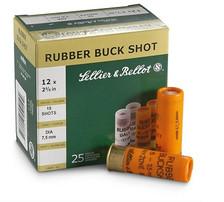 """Seller & Bellot 12 Gauge Ammunition SB12RSA 2-5/8"""" Rubber Buck Shot 15 Pellet 1476fps 25 Rounds"""