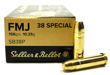 Sellier & Bellot 38 Special Ammunition SB38P 158 Grain Full Metal Jacket 50 Rounds