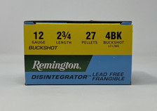 "Remington 12 Gauge Ammunition LF12B4 2-3/4"" 27 Pellet 4 Buck Disintegrator Lead Free Frangible CASE 250 Rounds"