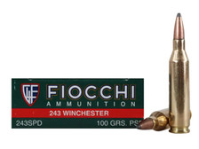 Fiocchi 243 Winchester Ammunition FI243SPD 100 Grain Pointed Soft Point 20 Rounds