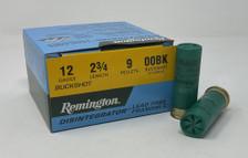 "Remington 12 Gauge Ammunition LF129B00 2-3/4"" 9 Pellet Frangible 00 Buck 25 Rounds"