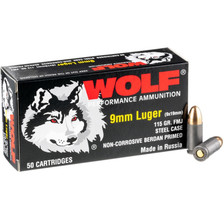 Wolf Performance 9mm Luger Ammunition WPA919115 115 Grain Full Metal Jacket 50 Rounds