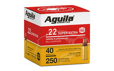 Aguila 22LR Ammunition SuperExtra 1B221100 High Velocity 40 Grain Copper Plated Lead Round Nose 250 Rounds