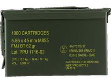 PPU 5.56x45mm NATO Ammunition PPN5562MC 62 Grain Full Metal Jacket CAN 1000 Rounds