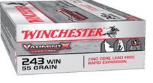 Winchester 243 Win Ammunition X243PLF 55 Grain Zinc Core Lead Free Rapid Expansion 20 Rounds