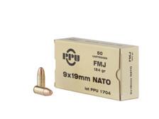 Prvi PPU 9mm Luger Ammunition PPN9 124 Grain Full Metal Jacket 50 Rounds