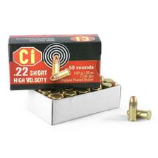 Cascade Ammo 22 Short High Velocity Ammunition CI22S29 29 Grain Copper Plated Round Nose 50 Rounds