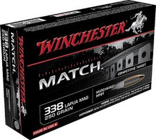 Winchester 338 Lapua Mag Ammunition S338LM 250 Grain Matching Hollow Point Boat Tail 20 Rounds