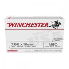 Winchester 7.62x51mm Ammunition WM80 149 Grain Full Metal Jacket 20 Rounds