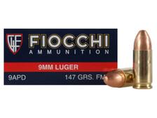 Fiocchi 9mm Luger Ammunition FI9APD 147 Grain Full Metal Jacket 50 Rounds