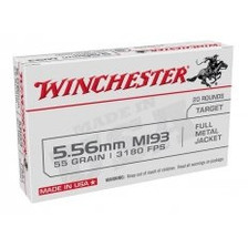 Winchester 5.56x45mm NATO M193 Ammunition WM193K 55 Grain Full Metal Jacket 20 Rounds