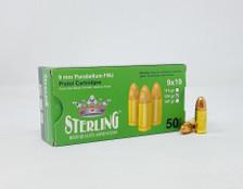 Sterling 9mm Luger Ammunition STRLG9MM124N 124 Grain Full Metal Jacket 50 Rounds
