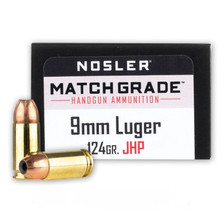 Nosler 9mm Luger Ammunition NOS51286 124 Grain Jacketed Hollow Point 20 Rounds
