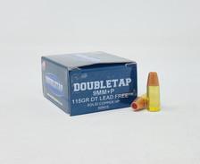 DoubleTap 9mm Luger +P Ammunition DTAP9MM115LFSCHP 115 Grain DT Lead Free Solid Copper Hollow Point 20 Rounds