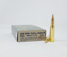 Sellier & Bellot 308 Win Ammunition SB308B 180 Grain Full Metal Jacket 20 Rounds