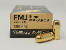 Sellier & Bellot 9mm MAKAROV (NOT LUGER) Ammunition SB9MAK 95 Grain Full Metal Jacket 50 Rounds