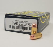 Precision Cartridge 9x18mm Ultra Ammunition (NOT LUGER or MAKAROV) PC9ULTRA100 100 Grain Total Metal Jacket 50 Rounds