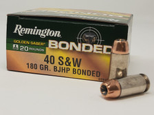 Remington Golden Saber Bonded 40 S&W R29365 180 Grain Jacketed Hollow Point 20 Rounds