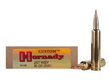 Hornady 257 Weatherby Magnum Ammunition H8136 90 Grain Custom GMX Ballistic Tip 20 Rounds
