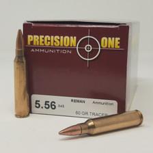 Precision One 5.56x45mm NATO REMAN Ammunition PONE403 60 Grain Tracer 50 Rounds