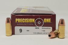 Precision One 9mm Ammunition PONE1333 115 Grain XTP Hollow Point 50 Rounds
