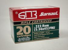 Barnaul 223 Rem Ammunition BARN223FMJ62L 62 Grain Full Metal Jacket 20 Rounds