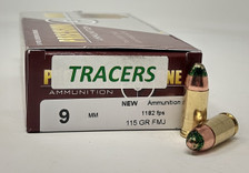 Precision One 9mm Ammunition PONE1341 115 Grain  Full Metal Jacket Green TRACER 50 Rounds