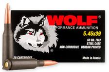 Wolf 5.45x39mm Ammunition WPA545FMJ20 60 Grain Full Metal Jacket 20 Rounds