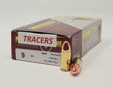 Precision One 9mm Ammunition PONE1341 115 Grain Full Metal Jacket Red TRACER 50 Rounds
