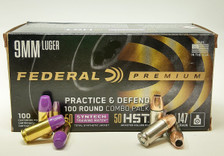 Federal 9MM Luger Ammunition Combo Pack FP9HST2TM 50 Rounds 147 Grain Total Synthetic Jacket AND 50 Rounds 147 Grain HST Jacketed Hollow Point Total 100 Rounds